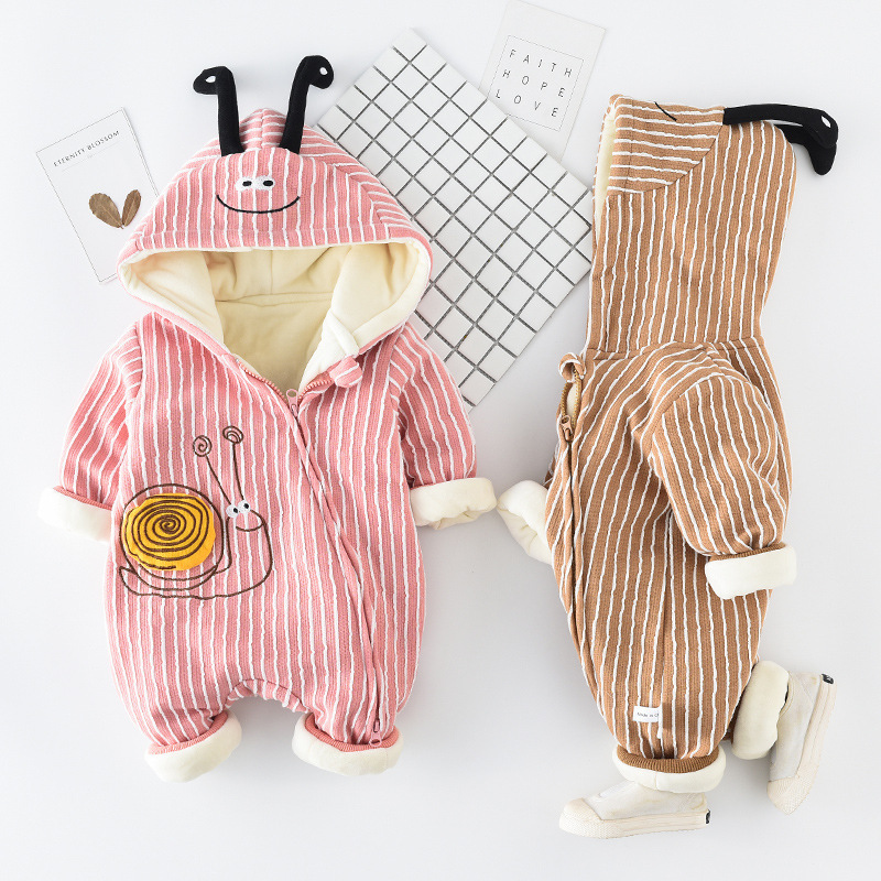 New Born Baby Outerwear Girl Boy Toddler Coat Autumn Winter Cute Snails Warm Hooded Infant Jacket Mantle Climbing Kids Clothes(China)