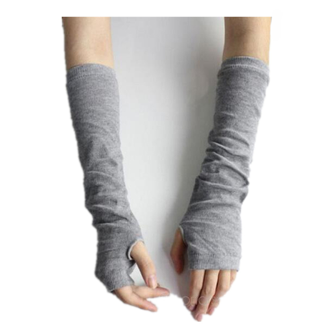 CUHAKCI Knitted Protection Fingerless Long Gloves Women Arm Warmers Solid Warm Mittens Half Finger Sleeves Black 5