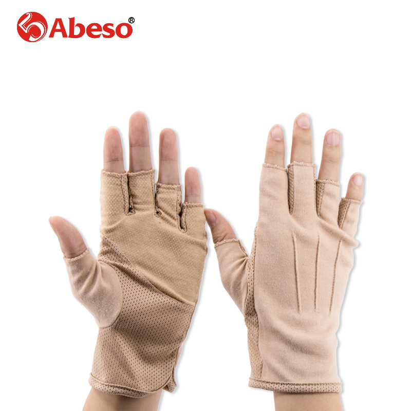 Abeso Cotton Gloves For Men Summer Sun Production Breathable Anti-skid Elastic Glove For Driving Half-Finger Gloves 1 Pair A1022