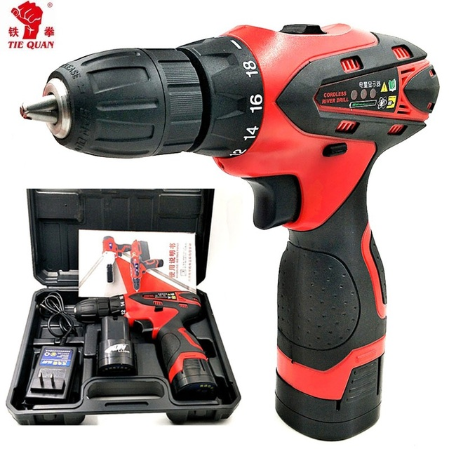 16.8V Screwdriver 2 Batteries drill Mini Drill double speed lithium electric drill Power Tools Cordless electric Drill Eu plug