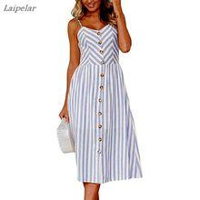 Womens Summer Spaghetti Strap Dress Solid/Striped Button Decor Swing Midi Dresses Female Laipelar
