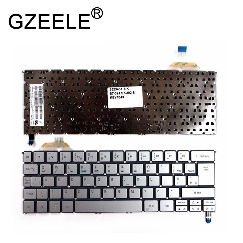 GZEELE Nouveau ROYAUME-UNI argent rétro-éclairé clavier pour Acer Aspire S7 S7-391 S7-392 S7-392-6832 MP-12C56GBJ442 QWERTY