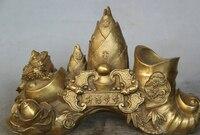 Бесплатная доставка JP s0524 10 Китайский Латунь золотая жаба Spittor битой бамбука цветок Кисточки пот карандаш ваза