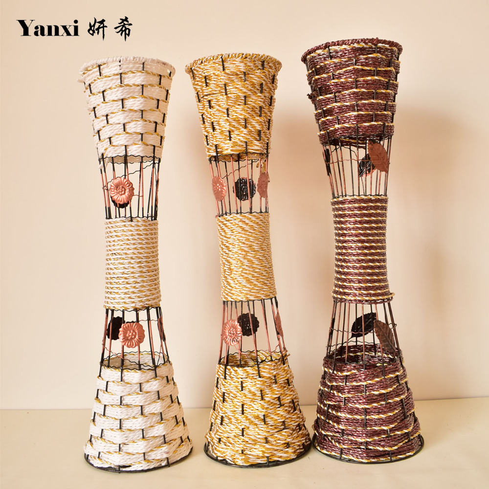 large tall modern metal artificial flowers floor vases for homes living room wedding decorative white