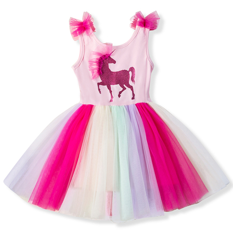 Unicorn Baby Girls Dress Flowers Rainbow Tulle Children Summer Girl Party Frocks Tutu Birthday Outfits Kids Dresses for Girls Pakistan