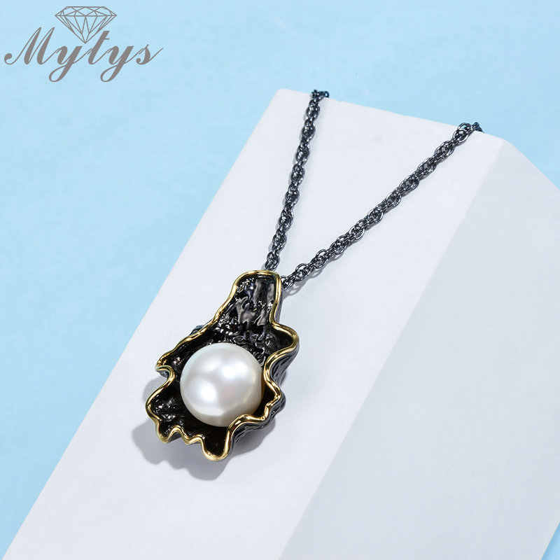 Mytys Big Pearl Black Gun Jewelry Sets Women Earrings Necklace Ring Set Pearl Leaf Design Gold Wire Frames Vintage Noble Jewelry
