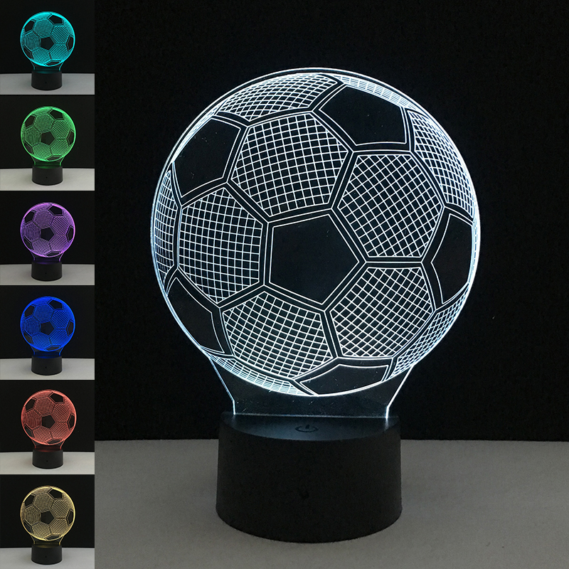 Colorful 3D Football Light Christmas Wedding Decoration Soccer Sport Fan Gifts Table Desk Bar Bedside Office Decorative