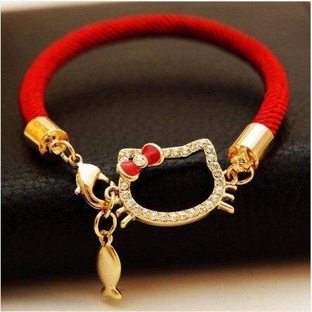 7af125050 Wholesale Hello Kitty Charm Bracelet Red String Infinity Bracelets Brand  Jewelry Fashion 2014 Chain Bracelet&Bangle High Quality