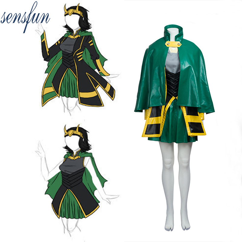 Sensfun Marvel The Avengers Thor Cosplay Costume Adult Women's Loki Costume Halloween Carnival Leather Dress Jacket Custom Made
