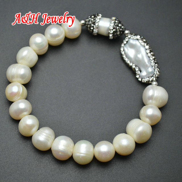 1pc High Quality 8~10mm Natural Freshwater Pearls With Rhinestone Paved Setting Charms Fashion Women Stretch Bracelets