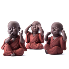 Estatua de Buda de cerámica para decoración del hogar, monje de arena púrpura, monje budista, ornamentos en miniatura, artesanías de budismo, regalo bonze zen