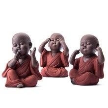 Statue de bouddha en céramique, moine de sable violet pour animaux de compagnie, moine bouddhiste, miniature, ornements, artisanat bouddhiste, cadeau, bonze zen