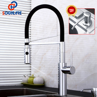 SOGNARE Pull Out Kitchen Faucet Black Chrome Finish Dual Sprayer Nozzle Cold Hot Water Mixer Brass