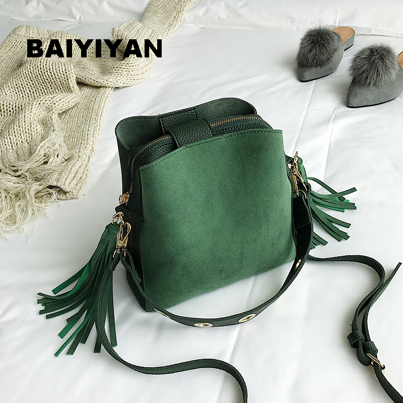 2018 Fashion Exquisite Women Bucket Bag Vintage Tassel Messenger Bag High Quality Retro Shoulder Bag Simple Crossbody Bag Tote