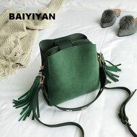 2018 Fashion Scrub Women Bucket Bag Vintage Tassel Messenger Bag High Quality Retro Shoulder Bag Simple