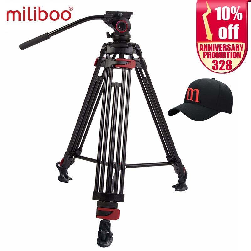 miliboo MTT604A 알루미늄 헤드 휴대용 카메라 삼각대 전문 캠코더 / 비디오 / DSLR 스탠드 75mm 볼링 사이즈 비디오 삼각대