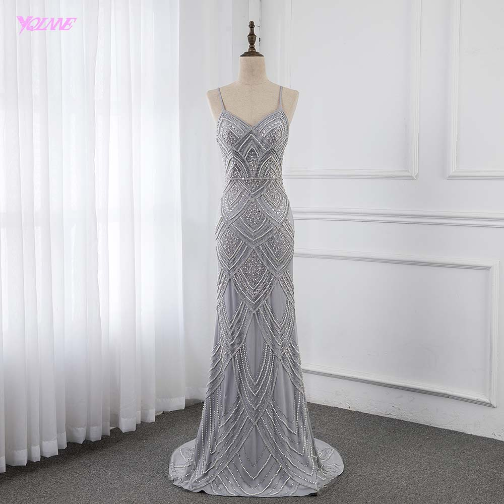 Silver Straps Evening Dresses Long Crystals Beaded Formal Gown Mermaid Zipper Back Robe De Soiree YQLNNE