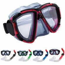 Professionele Snorkelen Duiken Set Kit Gear Anti-Fog Clear Vision Snorkel Masker Slagvast Gehard Glas Waterdichte Duiken(China)