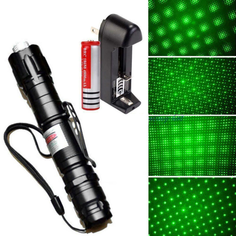 XpertMatic Powerful 532nm 5mw Green Light Laser Pointer Lazer Pen Burning Beam +18650 Battery+Charger ...