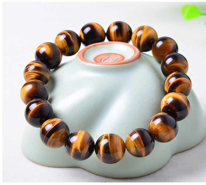 14mm Yellow Tiger Eye Natural Stone Bracelet For Women And Men Jewelry Crystal Silver Charm Bracelets Bangles Elastic Rope Chain цена 2017