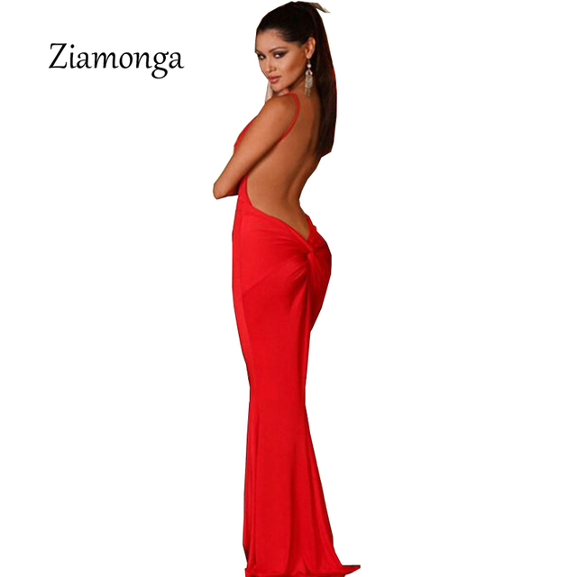 4f521b0e59fad Ziamonga Red Black White Erotic Mermaid Backless Formal Slip Dress V Neck  Sleeveless Strap Maxi Dresses