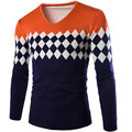 2016 New Arrival Men's Pullover V-Neck  Geometric Design Long Sleeve Sweaters Size M-2XL