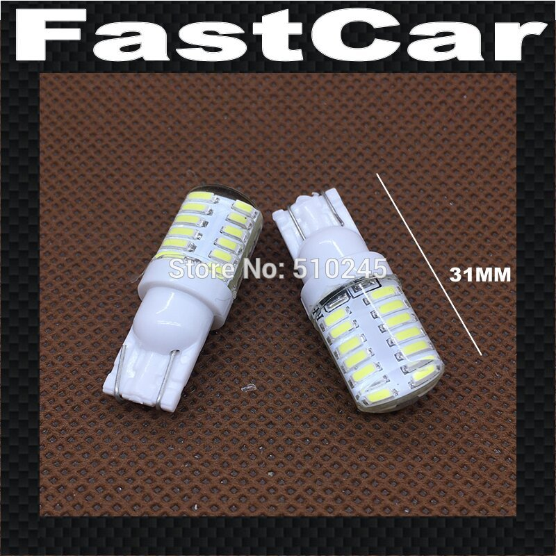 100X High quality silicone Car LED Light T10 24 leds 3014 smd W5W 24SMD 147 168 Wedge Door Side Bulb Lamp DC 12V Free shipping