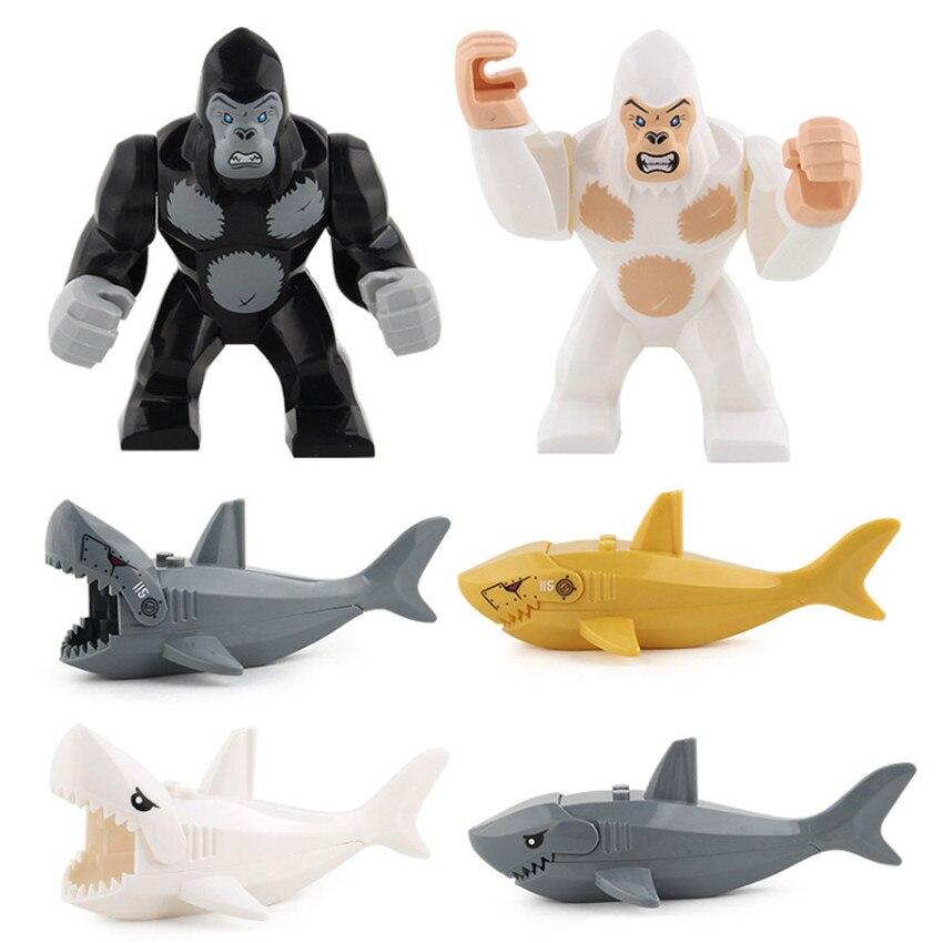 Single Creative Animal Series Gorilla Ghost Zombie Shark Figure Building Blocks Compatible Legoingly Plastic Toys for Children (1)