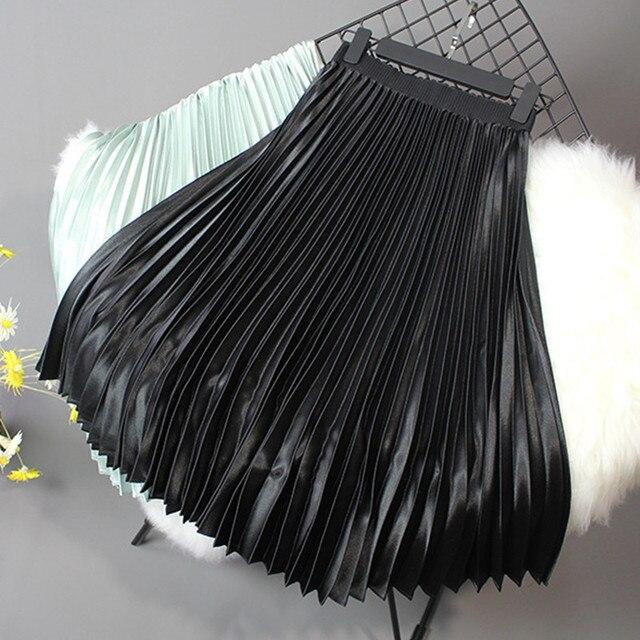 2019 Women Skirt Casual Autumn Winter Metallic Satin Pleated Skirt Female Vintage Mid Calf Black White Skirt Streetwear L 6