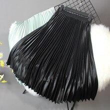 2019 Women Skirt Casual Autumn Winter Metallic Satin Pleated Skirt Female