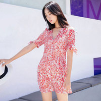 2018 Summer Women Deep V Neck Heart Print Shirt Dress Ladies Beach Wear Mini Dresses Strand Jurkjes