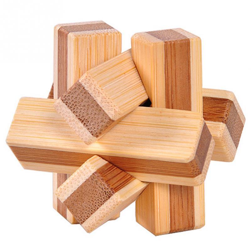 1 шт. бамбуковый развивающий замок 3D игрушка ручной работы для взрослых головоломка игра - Цвет: wood knot