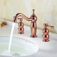All three hole eight inches mesa European faucet copper rose gold cold hot basin faucet The bathroom undercounter