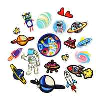 18 pièces/ensemble astronaute motif UFO patchs de broderie fer sur Badges autocollants en tissu pour Patchwork bricolage vêtements pantalons décoration