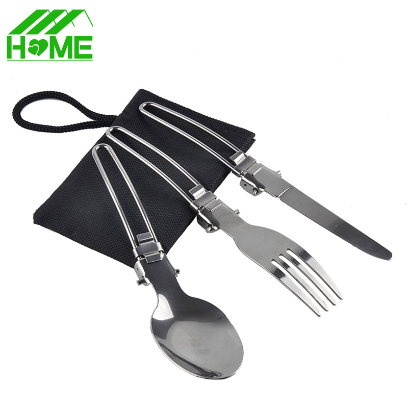 Foldable knife fork picnic dinner tableware set cutlery portable forks knives Outdoor Camping travel sets & kits with bags