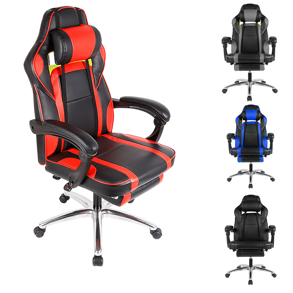 Recliner Computer Office Chair Swivel Rotating Racing Gamer Chair Lift Desk Chair With Adjustable Footrest For Work Meeting HWC