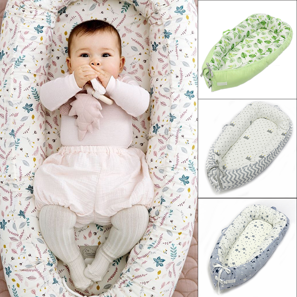 Baby Printing Bionic Bed Bumper Portable Baby Nest Bed Multifunctional Travel Bed With Bumper Mattress For