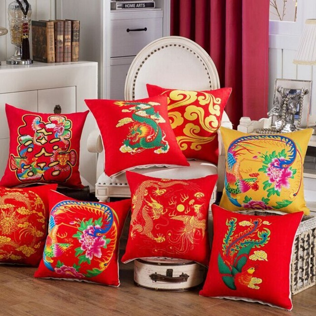 fd5575312 Red Yellow Cushion Cover Pillow Chinese Wedding Decorative Square Pillow  Covers Cotton Linen Home Decor Sofa Seat Throw Pillows