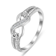 Classic Infinite sign inlay Cubic Zirconia Rings for man woman silvery Party Finger Jewelry Gift Dropshipping