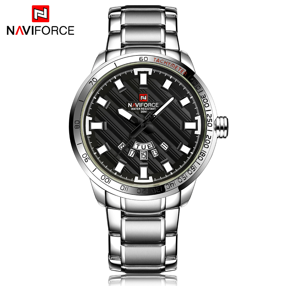 NAVIFORCE Luxury Brand Men Stainless Steel Watch Men's Quartz Clock Man Fashion Sport Waterproof Wrist Watches Relogio Masculino