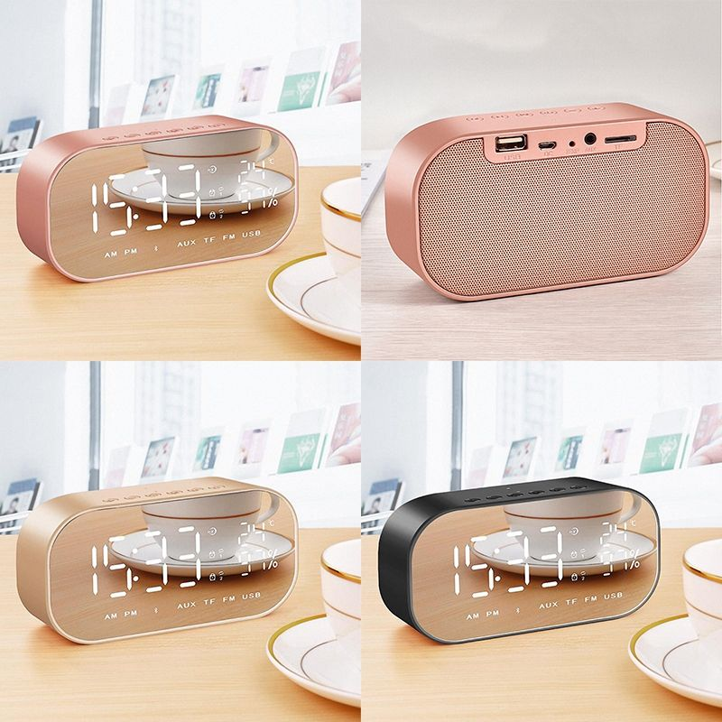 Rose Gold S2 Bluetooth wireless mini alarm mirror small stereo computer car subwoofer  bedside speakers|Portable Speakers| |  - title=