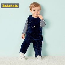 Balabala Baby 2-Piece Long-sleeved Shirt + 3D Dinosaur Bib Overalls Clothes Set Infant Newborn Baby Girls Boys Clothing Set for(China)