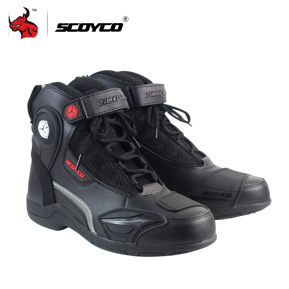 SCOYCO Motorcycle Boots Leather Motocross Off-Road Racing Boots Motorbike Riding Shoes Men Moto Boots Black And Brown