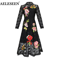AELESEEN High Quality Runway Dresses Women 2019 Spring Full Sleeve White/Black Dress Flower Embroidery Patchwork Lace Dress