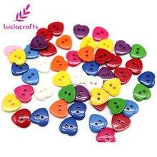 Lucia artesanato 48 pçs 15mm misture aleatoriamente botões de resina em forma de coração diy vestuário scrapbooking botão acessórios e0514