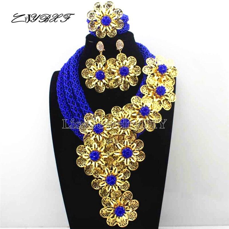 Эксклюзивный Королевский Синий Кристалл себе Цепочки и ожерелья Свадебный комплект в африканском стиле Королевский синий цветок комплект