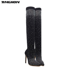 TINGHON Autumn women Spring boots platform high heels pointed toe pumps Over The Knee Boots rhinestone pumps High Heels Boots цены онлайн