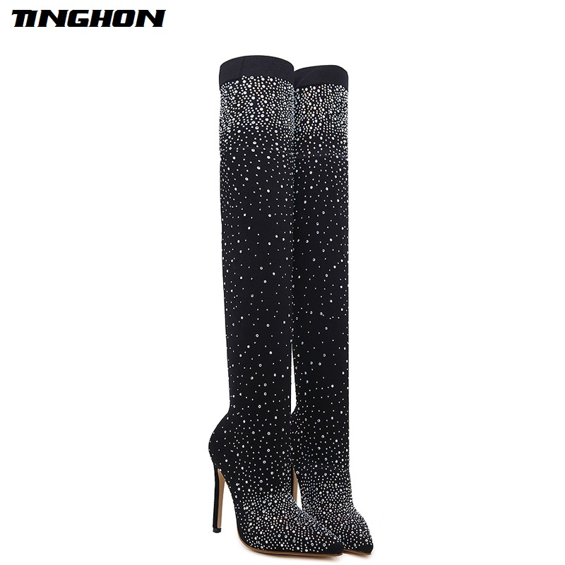 TINGHON Autumn women Spring boots platform high heels pointed toe pumps Over The Knee Boots rhinestone pumps High Heels Boots