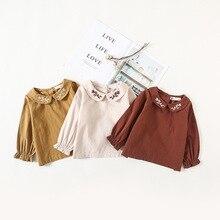 INS/рубашки для маленьких девочек новые мягкие топы с вышитым воротником для малышей, Плотные хлопковые рубашки детская блузка для маленьких девочек одежда для детей