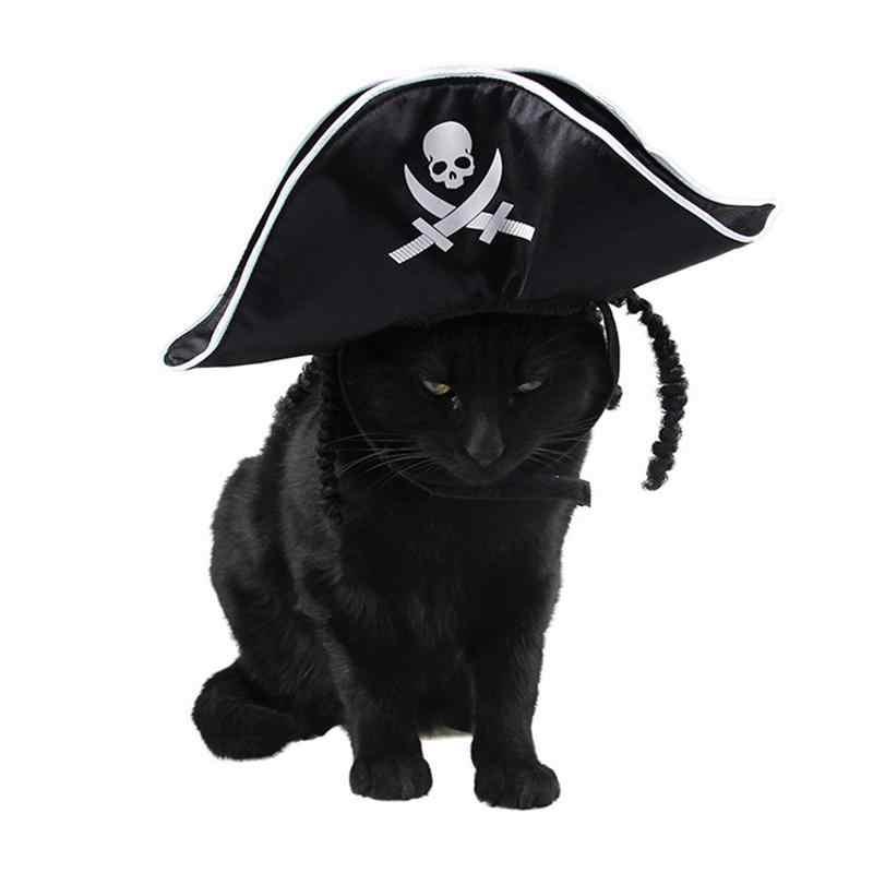 5 стилей Pet Хэллоуин поставок модные головные уборы Собака Кошка Шляпа Черный пиратская шляпа с парик фестиваль собака Hat Хэллоуин кошка украшения